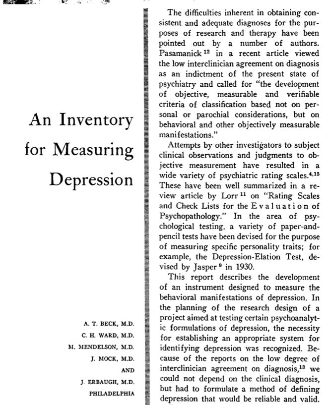 Version 1 of the Beck Depression Inventory